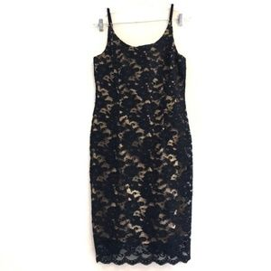 Mario Balthazar Black Floral Lace Formal Dress